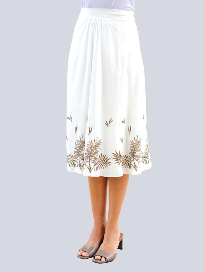 Alba Moda Sukně s výšivkou listů kontrastní barvy, Bílá/Oříšková