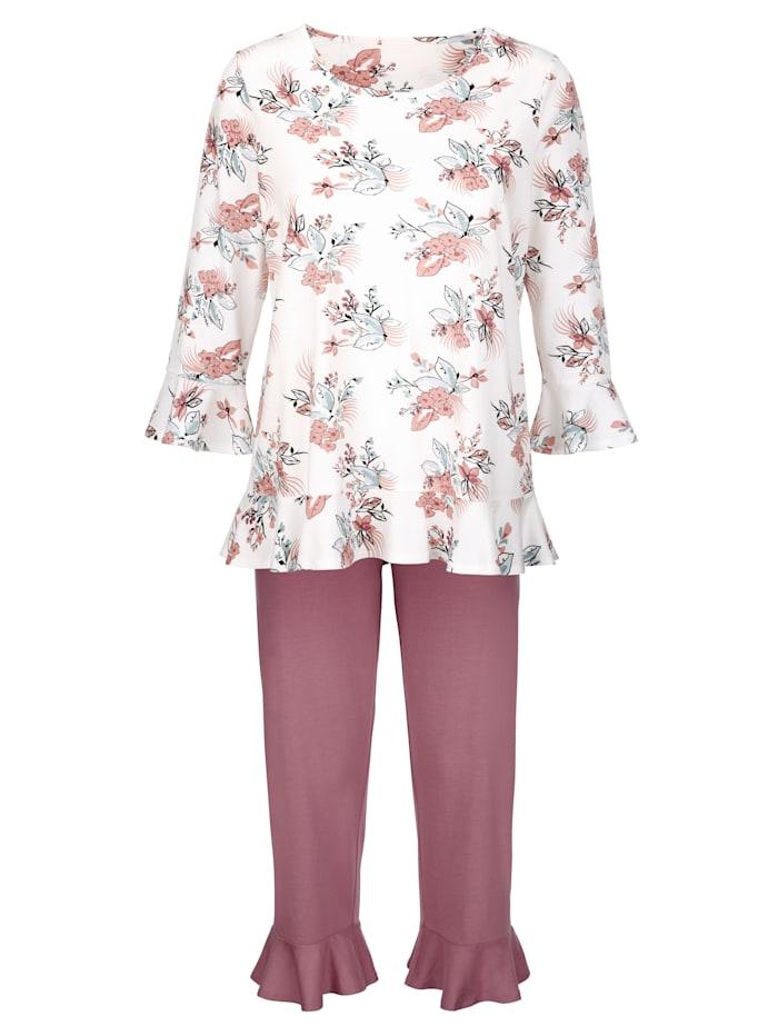 Simone Schlafanzug mit süßen Volantabschlüssen, ecru/rosenholz/gletscher