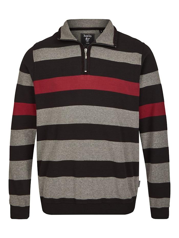 Hajo Sweatshirt mit Ottomanrippe, schwarz