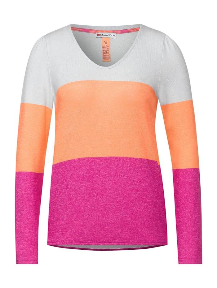 Street One Shirt mit Colourblock-Design, strong mandarine melange