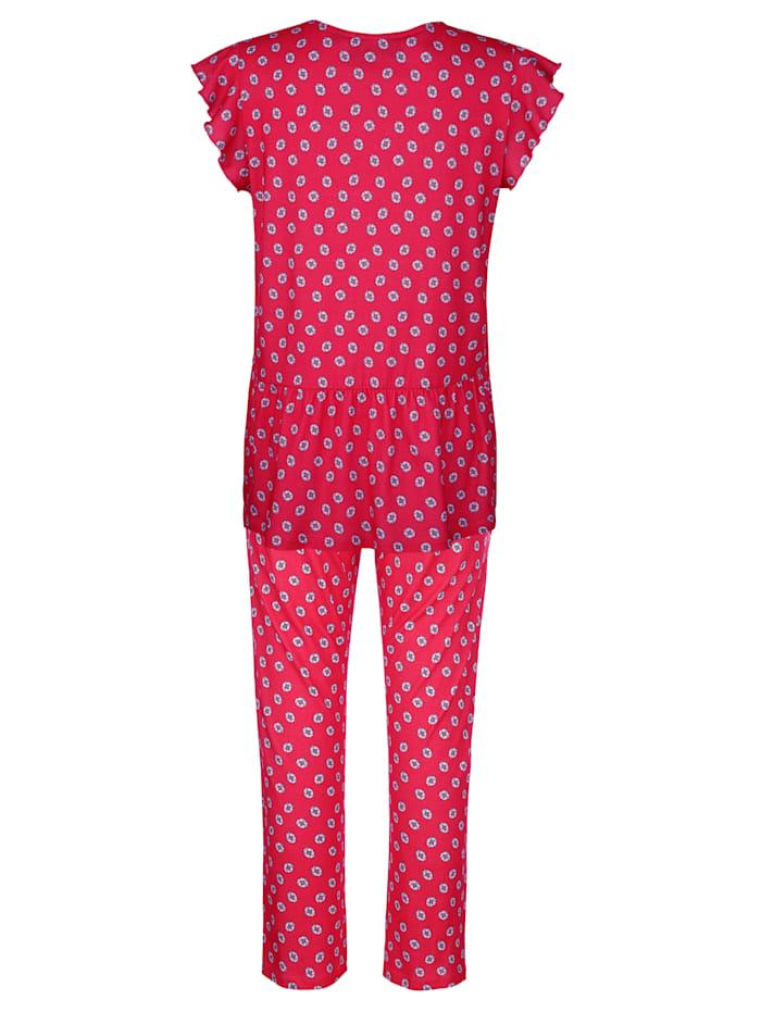 Schlafanzug mit süßem Wellensaumabschluss an den Ärmeln