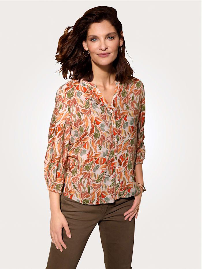 MONA Bluse mit effektvollem Blätterdruck, Weiß/Koralle/Grün