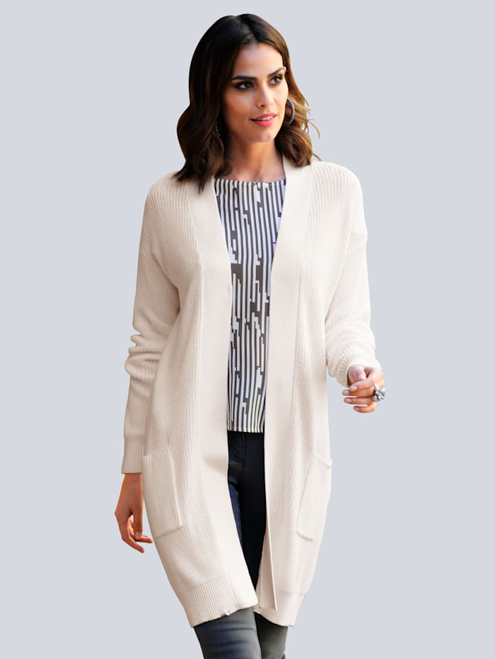 Alba Moda Strickjacke in Patentstrick, Off-white