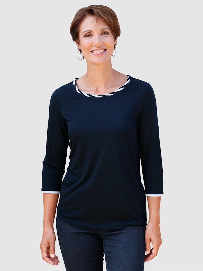 Paola Shirt in kontrastfarbener Verarbeitung, Marineblau/Weiß