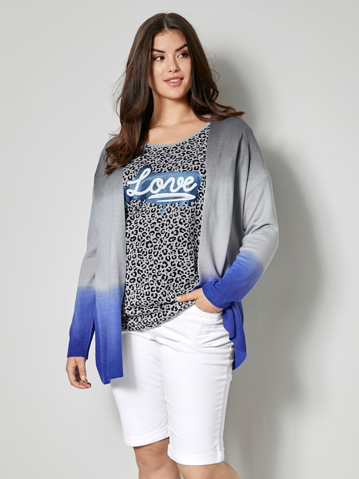 Angel of Style Vest met dip dye-look, Grijs/Royal blue