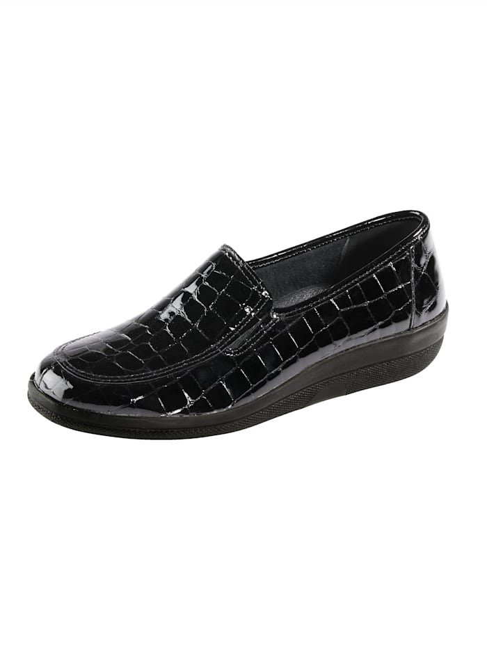 Naturläufer Loafers with elasticated side panels for ease and comfort, Black