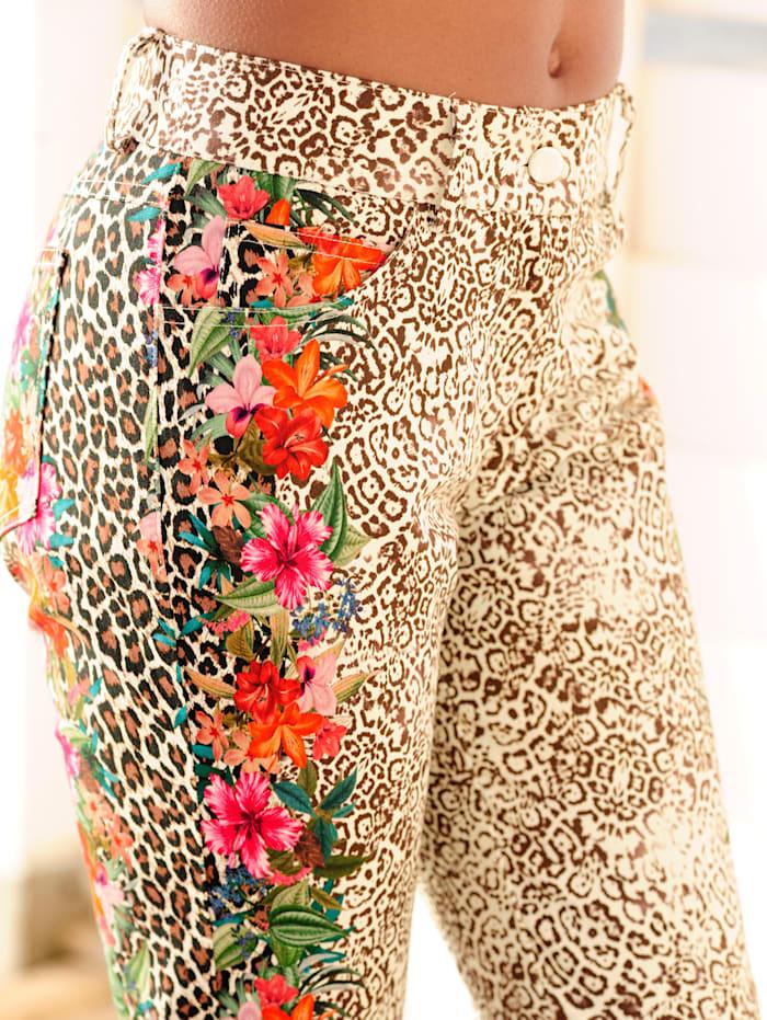 Alba Moda Hose mit seitlichem Blumendruck, Beige
