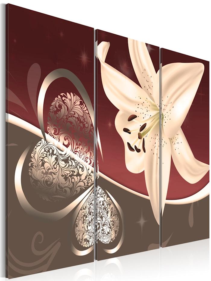 artgeist Wandbild Abstrakte Komposition mit Lilie - Triptychon, Bordeaux,Creme,Grau