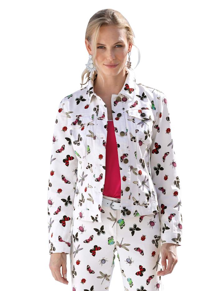AMY VERMONT Džínová bunda s potiskem motýlů, Bílá/Pink/Modrá/Zelená