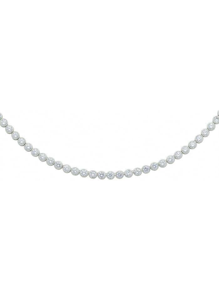 1001 Diamonds Damen Silberschmuck 925 Silber Halskette mit Zirkonia 42 cm Ø 5 mm, silber