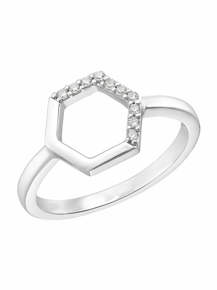 s.Oliver Ring für Damen, 925 Sterling Silber | Hexagon, Silber