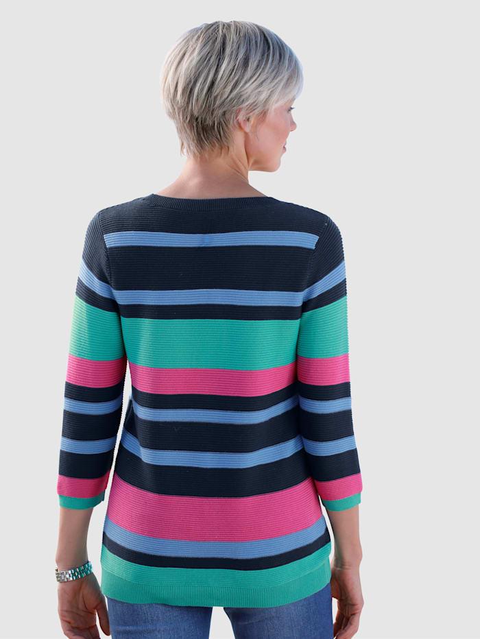 Dress In Pulóver s rebrovanou štruktúrou, Zelená/Námornícka/Modrá