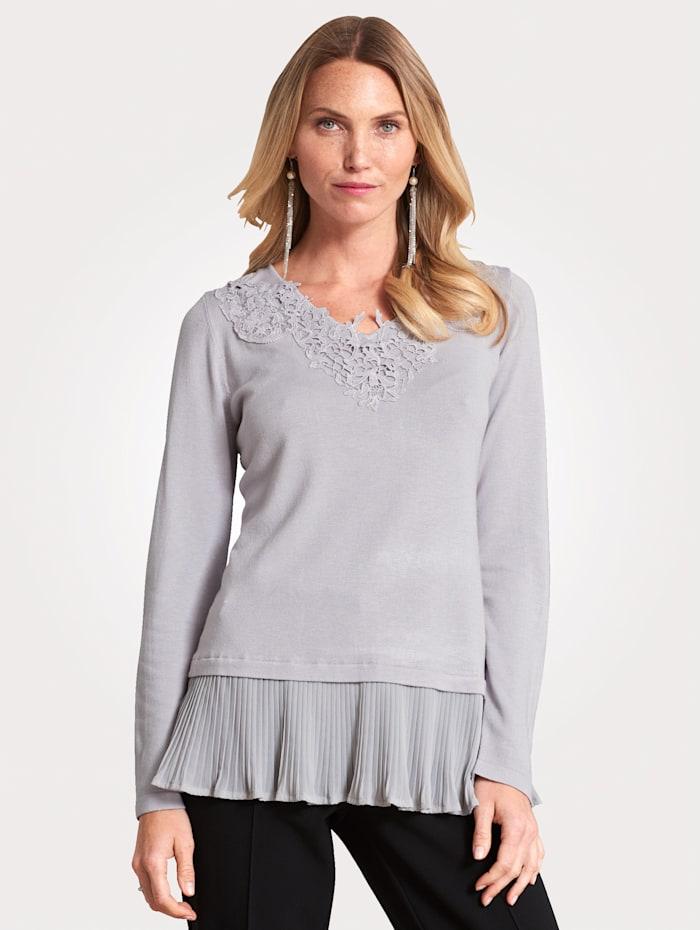 MONA Pullover mit Spitzen-Zier, Silbergrau