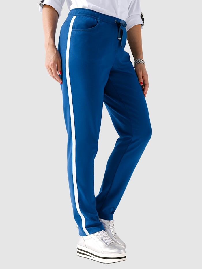 MIAMODA Hose mit seitlichem Streifen, Royalblau/Weiß