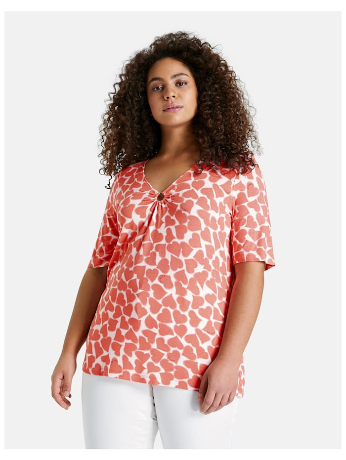 Samoon T-Shirt mit Herz-Print Oeko-Tex Standard 100, Fusion Coral gemustert