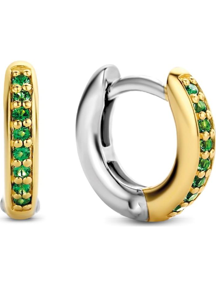 Ti Sento Milano Ti Sento - Milano Damen-Creolen 925er Silber Kristall, gold/grün