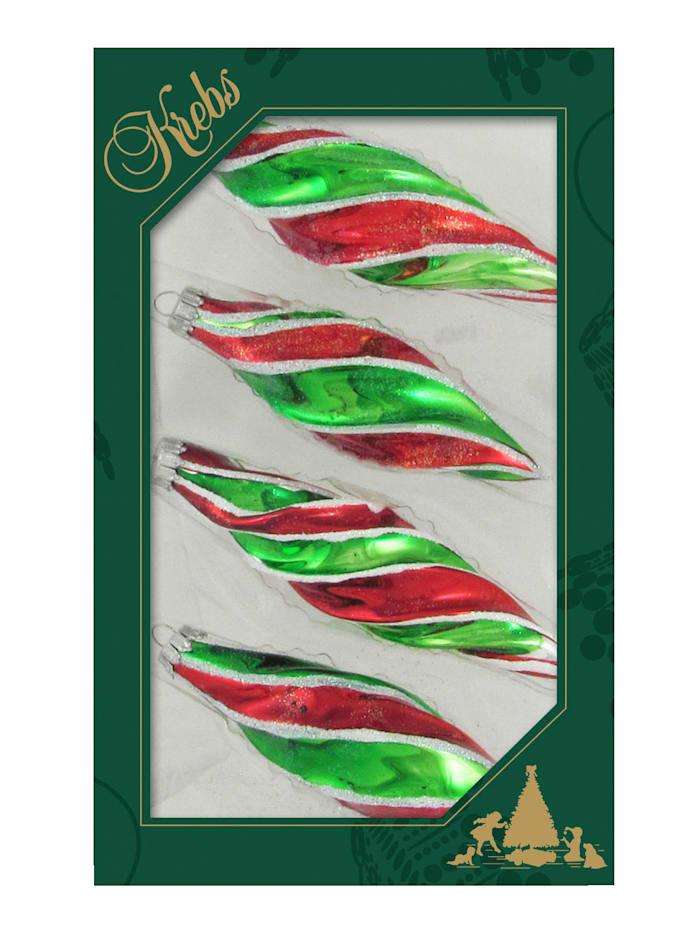 Krebs Glas Lauscha Droppformade julgranskulor, 4 st., grön