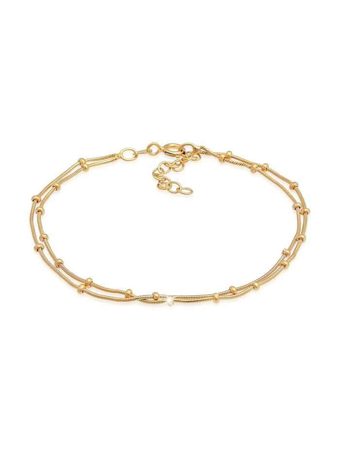 Elli Armband Layer Kugelkette Rund Basic Trend 925Er Silber, Gold