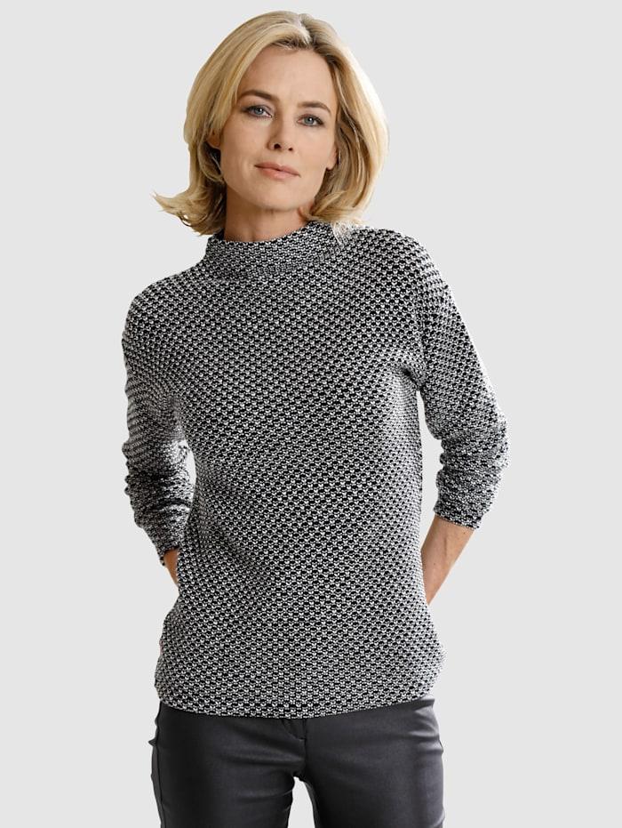 Dress In Kohopintainen neulepusero, Musta/Valkoinen