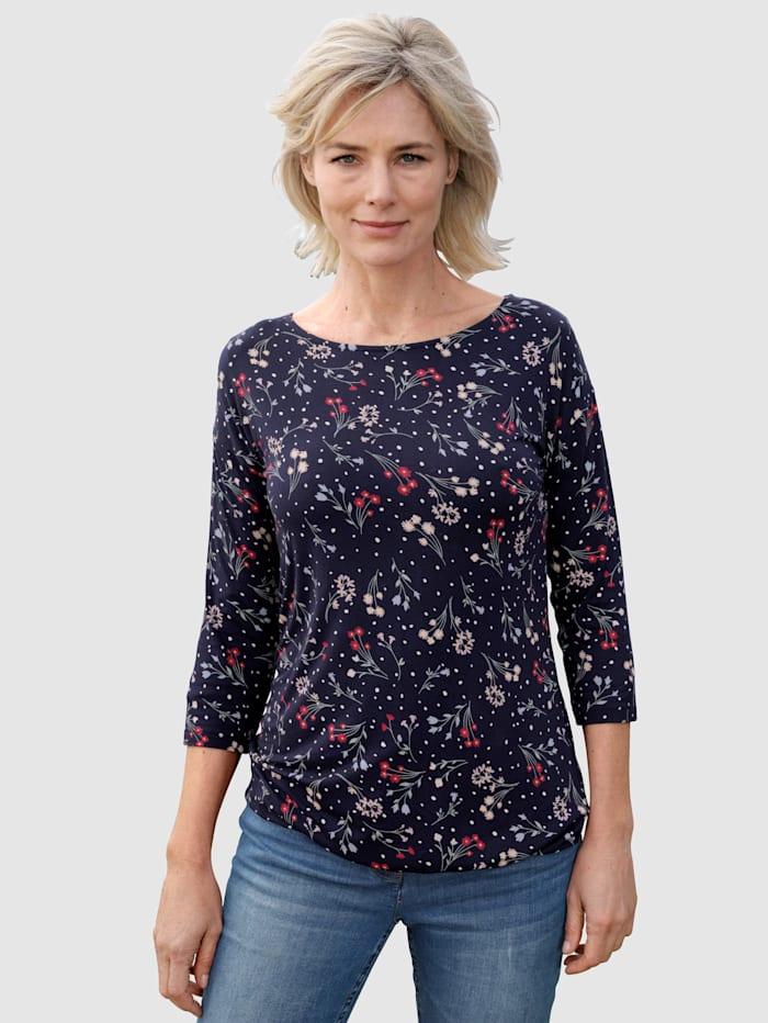 Dress In Topp med blommigt mönster, Marinblå