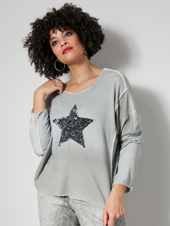 Angel of Style Pullover mit modischem Pailletten Stern, Grau