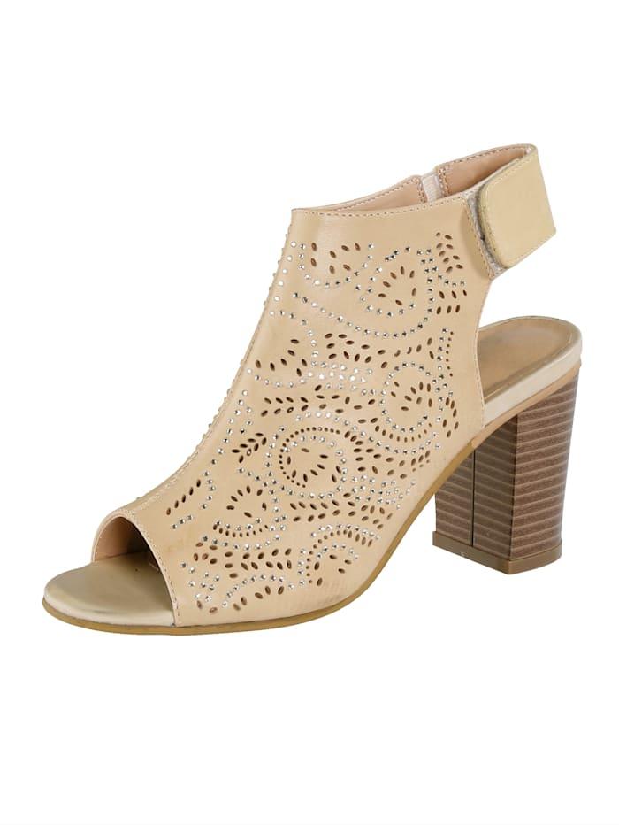 Liva Loop Sandale mit Klettriegel an der Ferse, Beige
