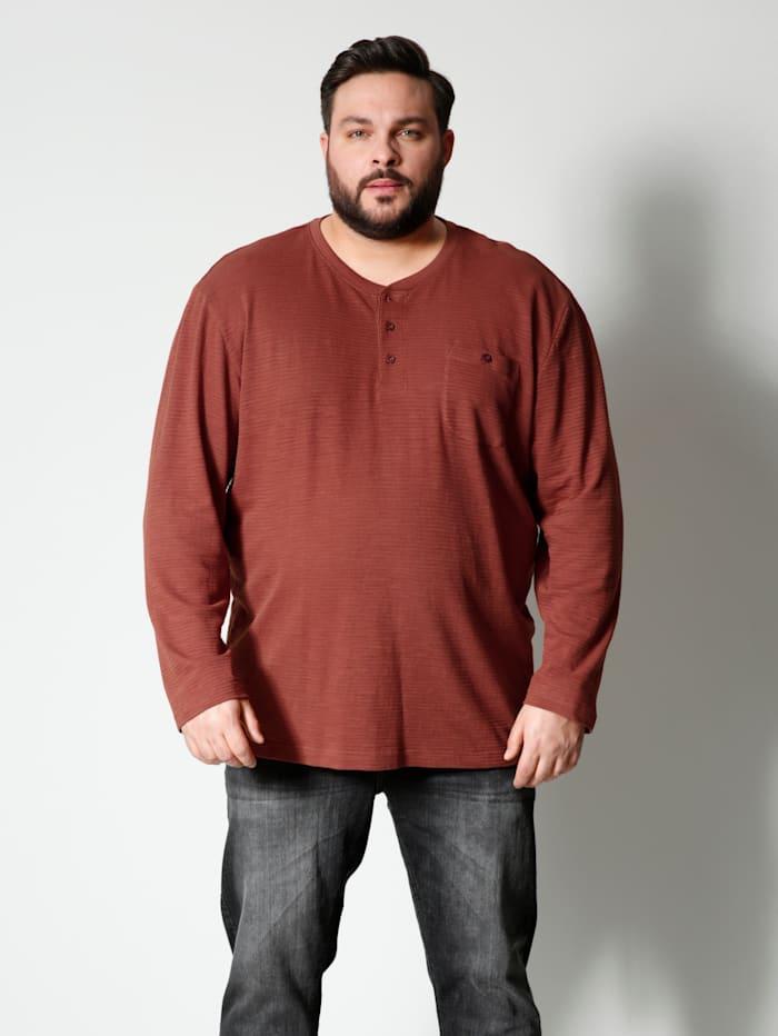 Men Plus Henleyshirt aus reiner Baumwolle, Rost