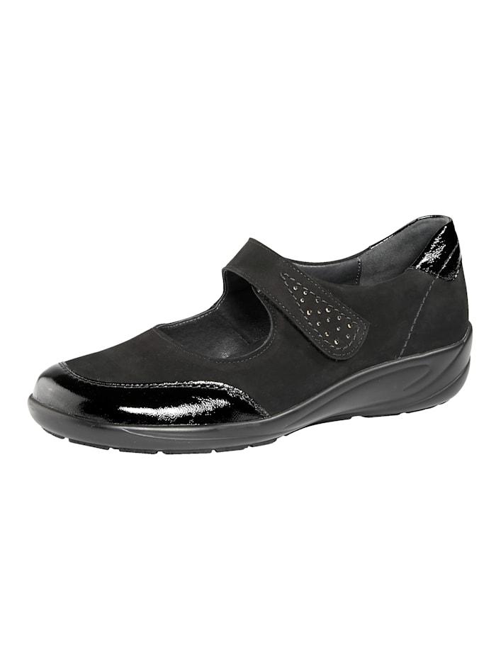 Semler Instapper met uitneembaar leren voetbed, Zwart