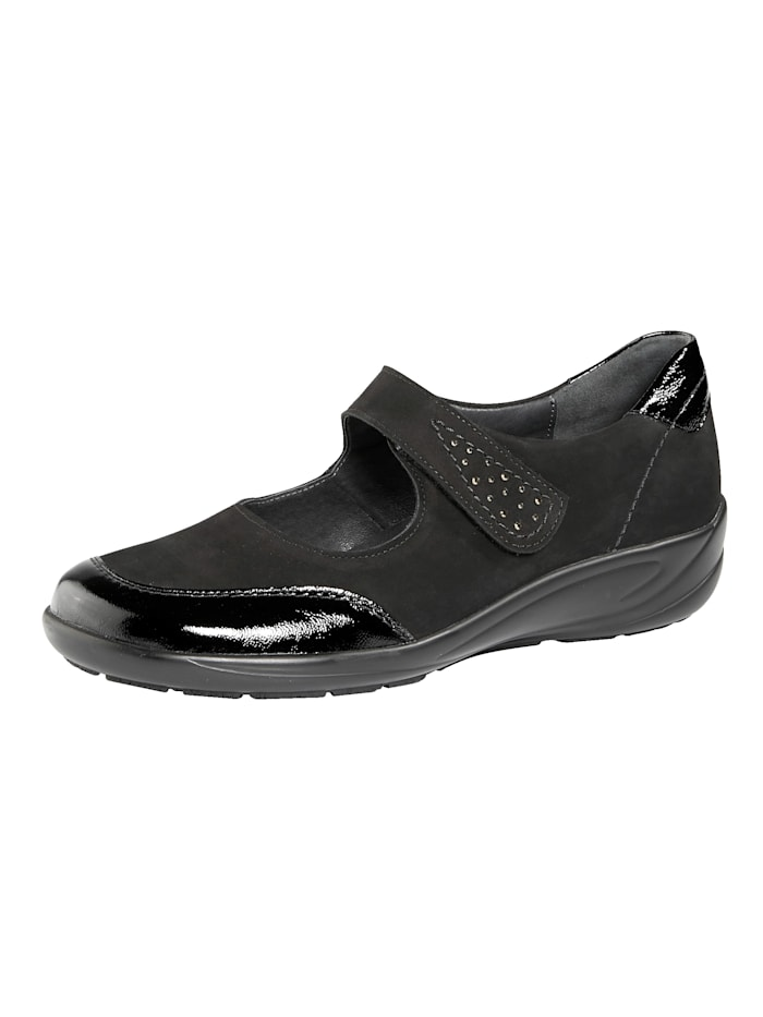 Semler Slipper mit auswechselbarem Lederfußbett, Schwarz