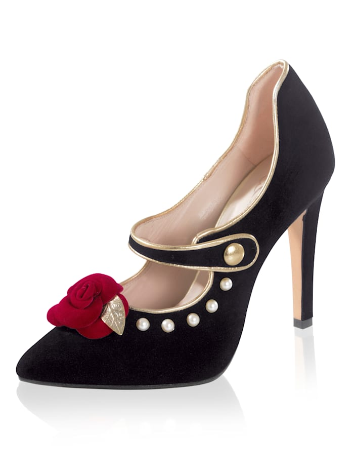Pumps mit Applikation in Rosen-Form