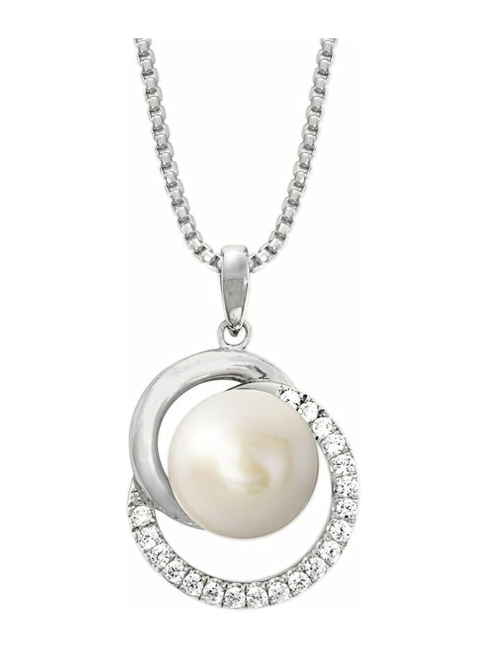 JOOP! Kette mit Anhänger Halskette mit Perle und Zirkonia rhodiniert, Silber 925, Silber