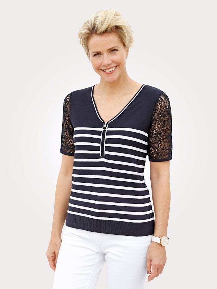 MONA Pullover mit Spitzenärmel, Marineblau/Weiß