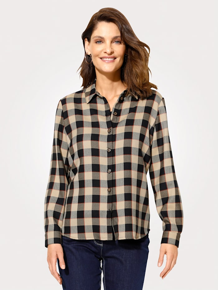 MONA Bluse mit tonig aufgesticktem Hahnentrittmotiv, Marineblau/Beige