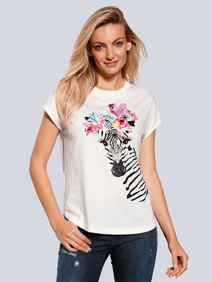 SPORTALM T-Shirt mit Zebra-Motiv, Weiß