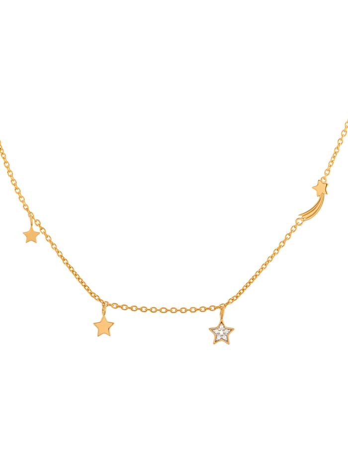 CAI Caï Damen-Kette 925er Silber 6 Zirkonia, gold