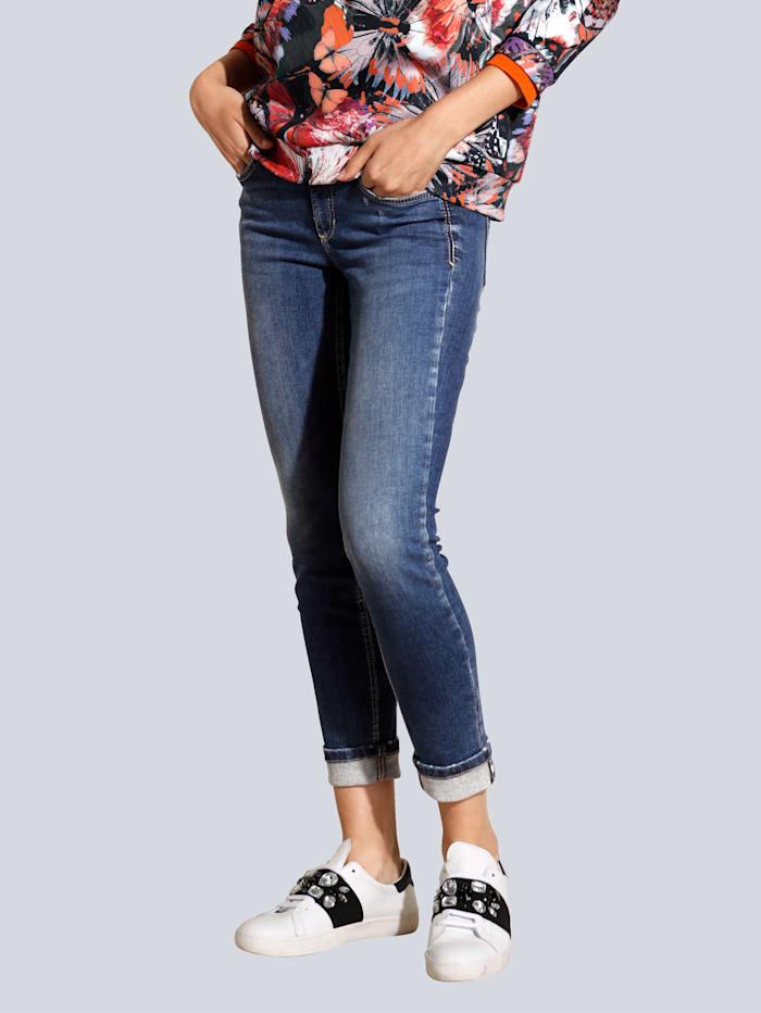 CAMBIO Jeans mit farbigem Schmuckband am Saum, Blau