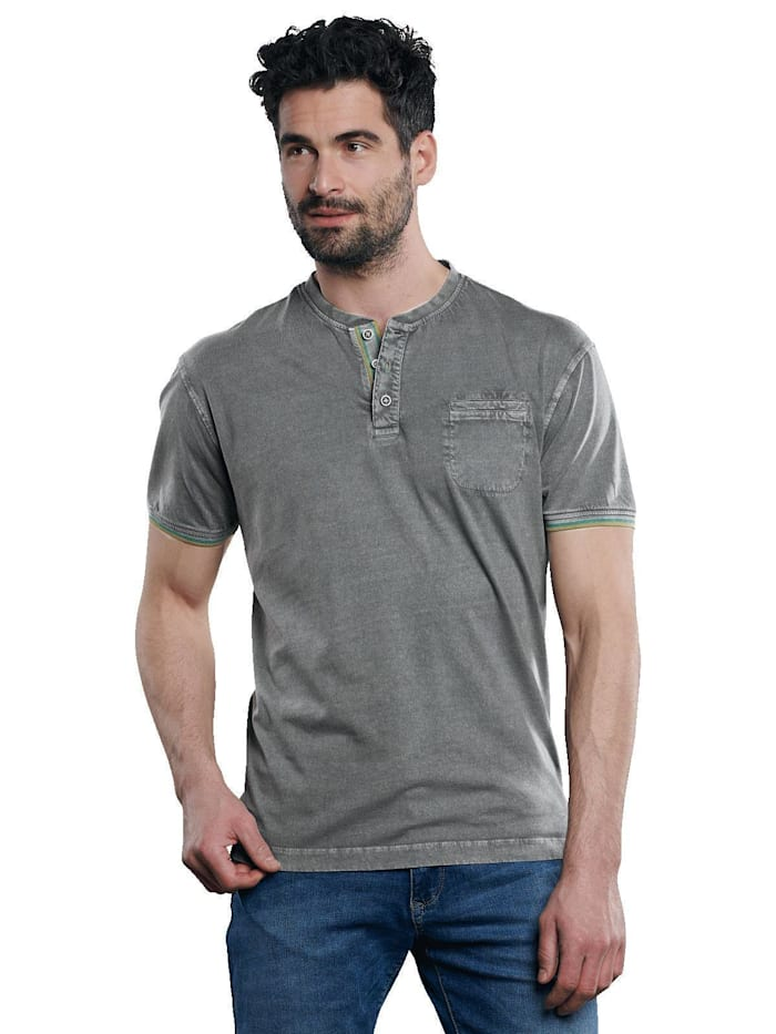 Engbers T-Shirt im Henleystyle, Stahlgrau