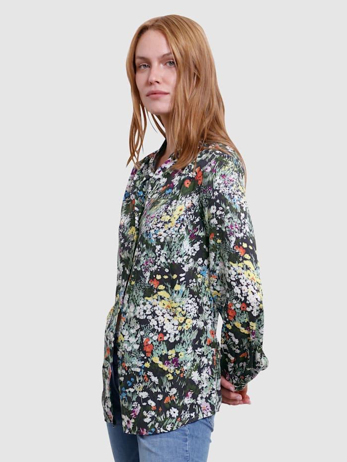 Laura Kent Blouse met bloemenpatroon, Zwart