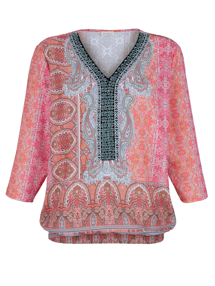 Pull-on blouse with a paisley print