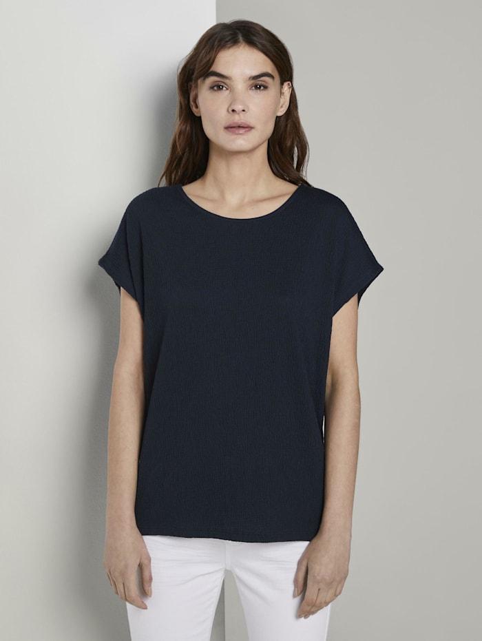 Tom Tailor T-Shirt in Crincle-Optik, Sky Captain Blue