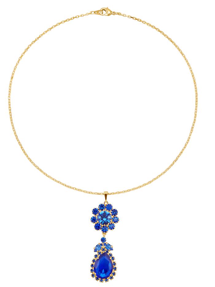 Anhänger mit blauen Kristallen und Kette