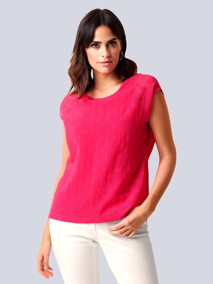 Alba Moda Blusenshirt in transparenter Ausbrenner-Qualität, Pink