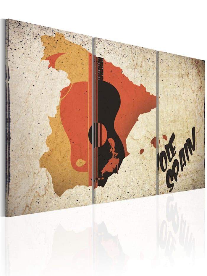 artgeist Wandbild Spanien: Gitarre und Flamenco, Braun,Creme,Orange,Gelb