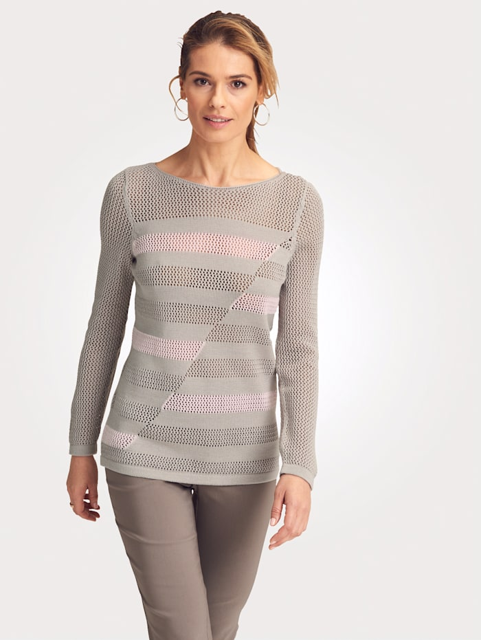 MONA Pull-over en maille ajourée, Taupe/Rose