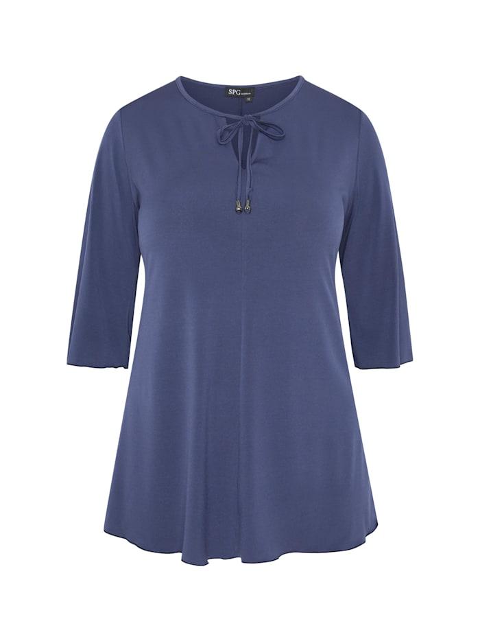 SPGWOMAN Longshirt SHIRT UNIFARBEN AUSGESTELLT Paspeln, dunkelblau