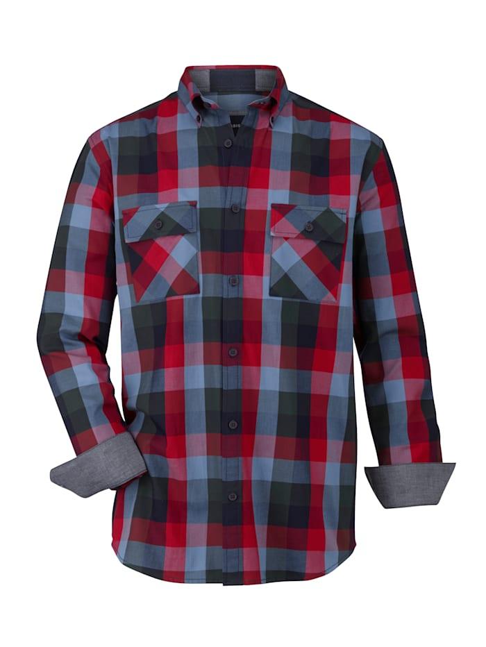 BABISTA Chemise avec 2 poches biais, Bleu/Rouge