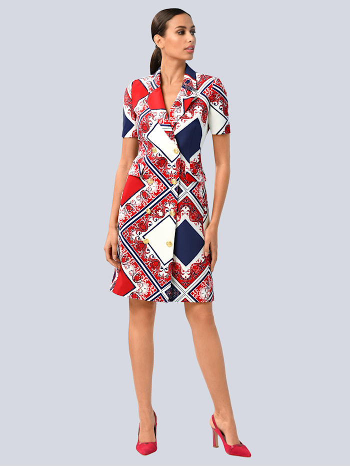 Alba Moda Jurk in modieus double-breasted model, Marine/Rood/Wit