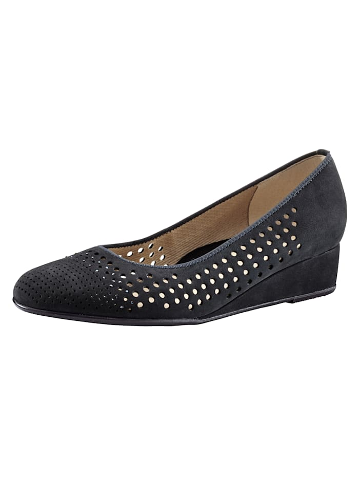 Ara Wedge court shoes with chic cutout detailing, Dark Blue