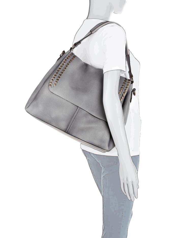 Emma & Kelly Handtasche aus hochwertigem Softmaterial mit Nieten, grau