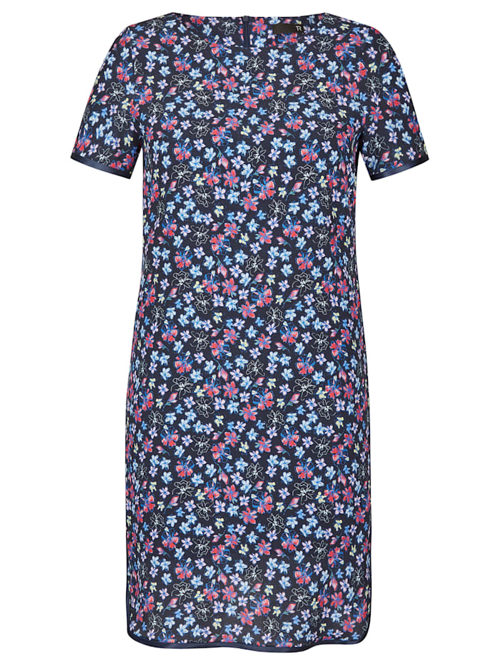 Shift-Kleid mit Blumen und Rundhalskragen